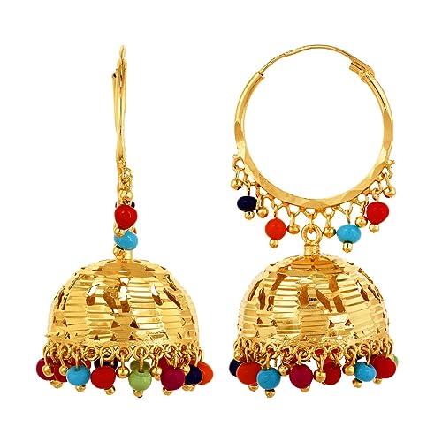 3a661d629 Designer Color Ful Gold Polish Jhumka Jhumki Earrings Bollywood Style  Ethnic Design: Amazon.ca: Jewelry