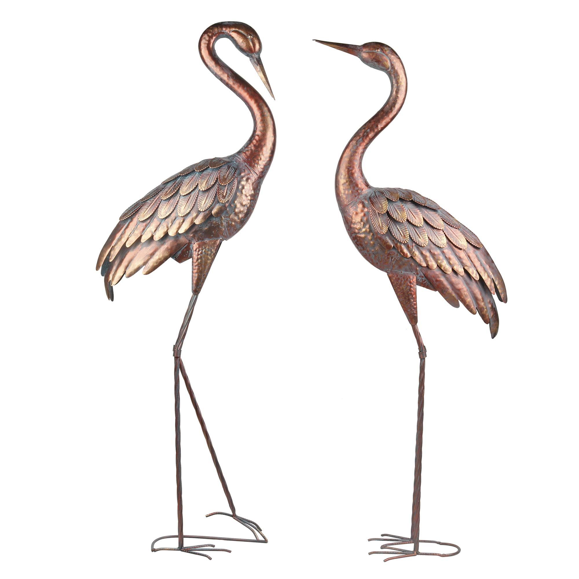 Kircust Garden Statues Patina Heron Decoy, Standing Metal Crane Sculptures Bird Yard Art for Outdoor Decor, Set of 2