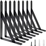 AWX Heavy Duty Shelf Brackets 12 inches x 8 inches with Screws - 8 Pack Black Metal Shelf Brackets - Shelf Support Angle…