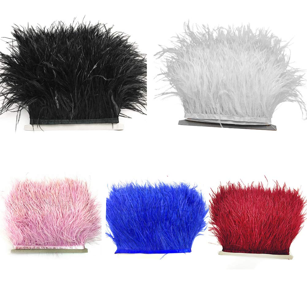 decoraci/ón Tama/ño libre azul costura accesorios de costura para vestidos manualidades Fleco de plumas de avestruz para ropa disfraces