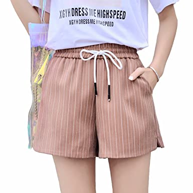 28df8fa9d734 TieNew Ladies Linen Shorts with Pockets - Summer Beach Hot Pants, Women's  Casual Drawstring Elastic Waist Curling Bermuda Shorts,Women Linen Shorts  Casual ...