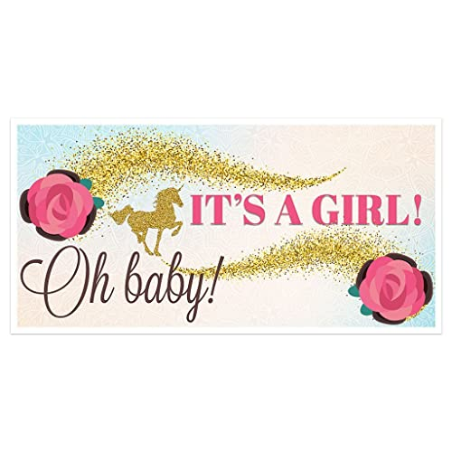 amazon com gold unicorn baby shower it s a girl banner party