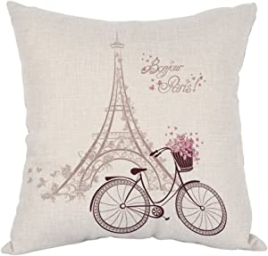Moslion Tower Eiffel Pillow,Home Decor Throw Pillow Cover Bonjour Paris Text with Tower Eiffel And Bicycle Cotton Linen Cushion for Couch/Sofa/Bedroom/Livingroom/Kitchen/Car 18 x 18 inch Pillow case