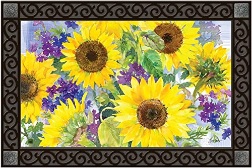 Studio M MatMates Sunflower Burst Spring Summer Floral Decorative Floor Mat Indoor or Outdoor Doormat with Eco-Friendly Recycled Rubber Backing, 18 x 30 Inches