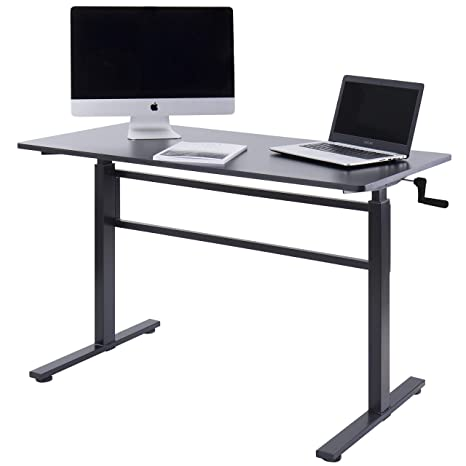 Swell Unicoo Crank Adjustable Height Standing Desk Adjustable Sit To Stand Up Desk Home Office Computer Table Portable Writing Study Table Black Home Remodeling Inspirations Propsscottssportslandcom