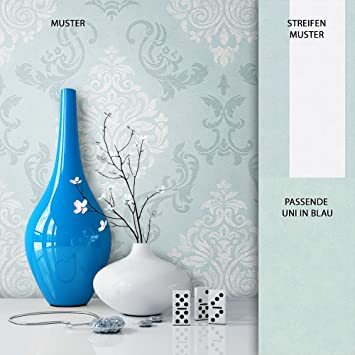 NEWROOM Barocktapete Tapete Blau Ornament Barock Vliestapete Weiß ...