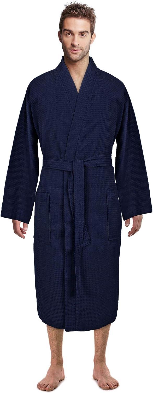 Premium Turkish Cotton Waffle Weave Lightweight Kimono Spa Bathrobe for Men at  Men's Clothing store