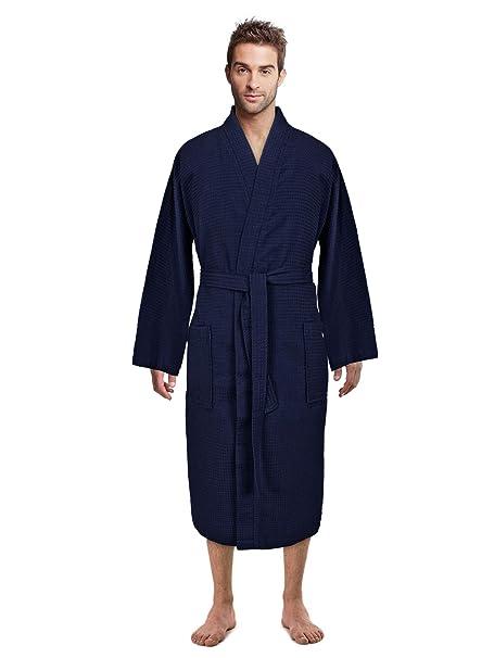12a63bbaed Premium Turkish Cotton Waffle Weave Lightweight Kimono Spa Bathrobe for Men  at Amazon Men s Clothing store