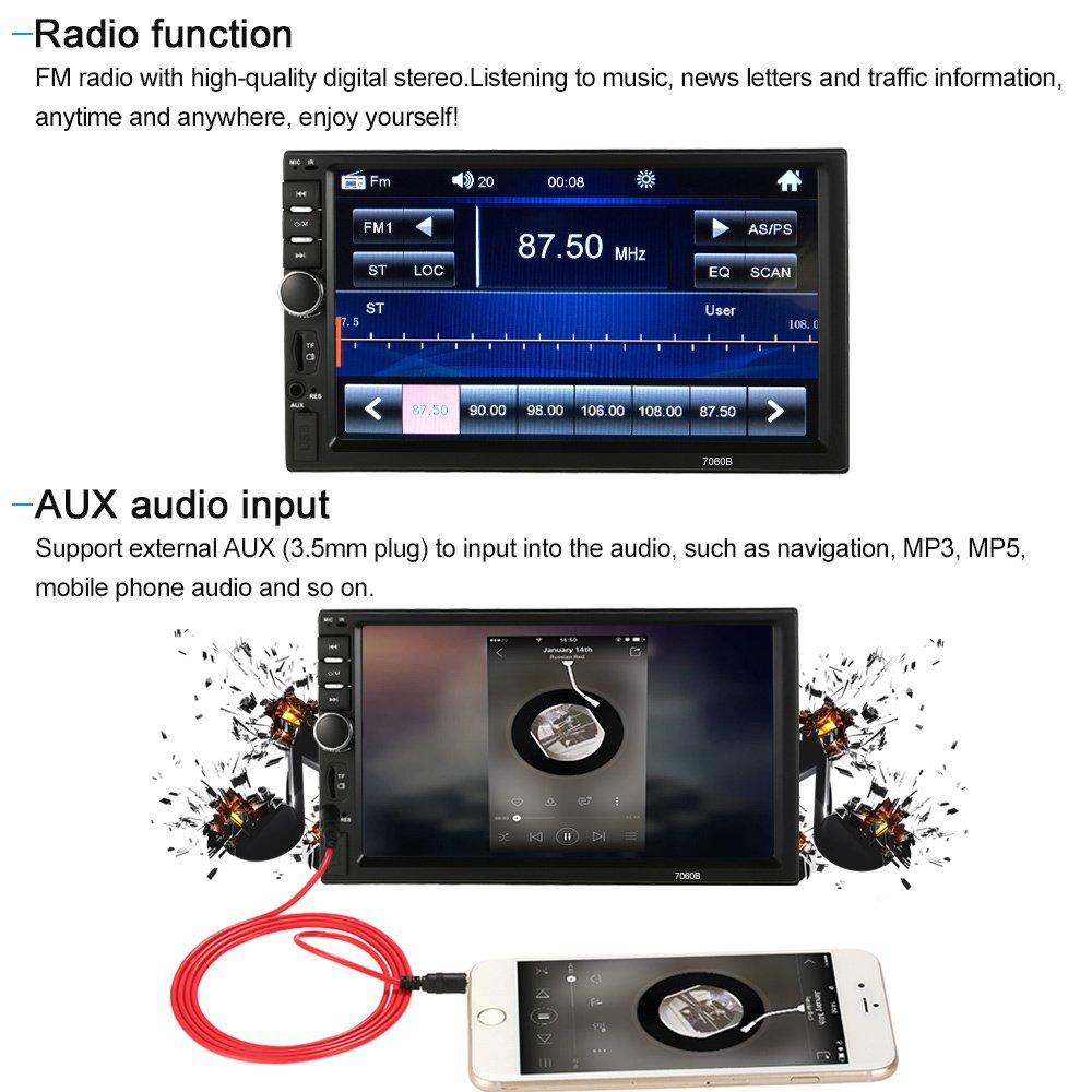 KKmoon 2 Din Autoradio 7 Pollici Universale Auto Stereo Radio MP5 Lettore BT Radio multimediale dintrattenimento USB//TF In-Dash FM Ingresso di Aux con Controllo del volante e Telecamera posteriore
