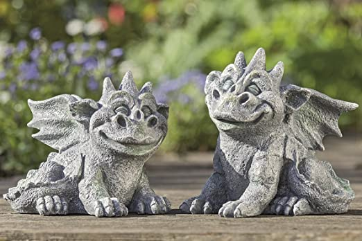 1 x Dragón lucio Resina gris 20 cm de altura, escultura, Jardín, Jardín Animal para jardín, Criatura imaginaria, links (Stückpreis): Amazon.es: Jardín