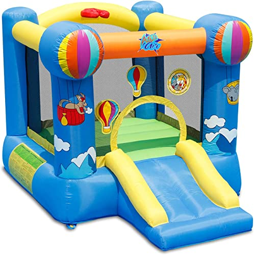 ACTION Air Bounce House Inflatable Jumping Castle with Slide blue with multi colored decor