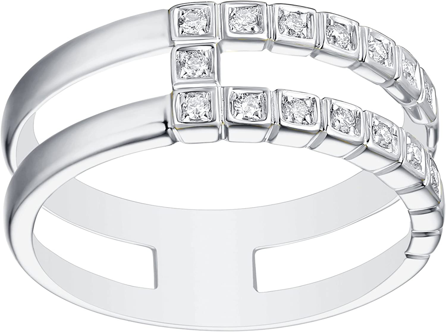 Prism Jewel 0.13CT G-H//SI1 Natural Diamond Light Weight 2-Row Wedding Band