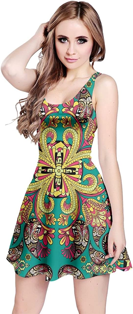 CowCow Womens Aztec Native American Indian Print Paisley Damask Floral Flowers Bohemia Sleeveless Dress, XS-5XL