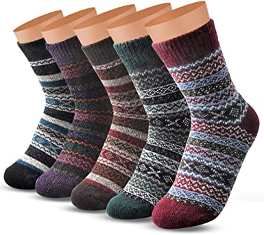 5pairs heart patten womens wool warm soft thick casual winter socks USA SELLER