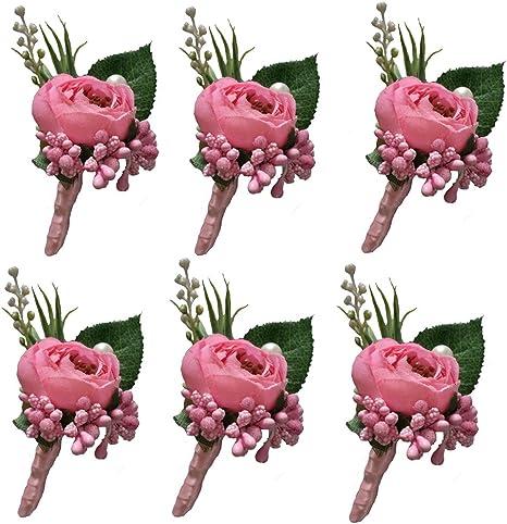 12 x Vintage Pink Single Rose Flower Wedding Buttonholes NEW Handmade