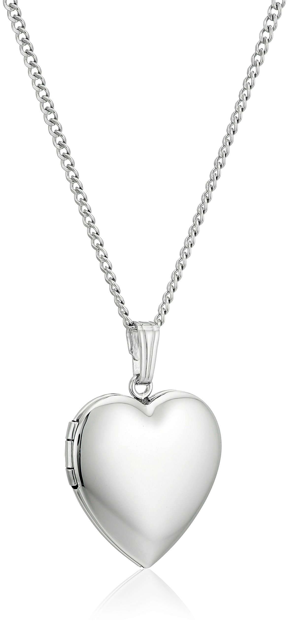 Sterling Silver Polished Heart Locket Pendant Necklace, 18''
