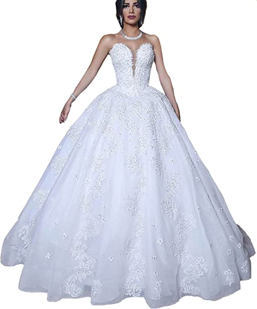 Amazon Com Yuxin Princess Ball Gown Wedding Dresses For Bride 2020 Sweetheart Beading Appliques Plus Size Bridal Gowns Clothing,Plus Size Wedding Dresses