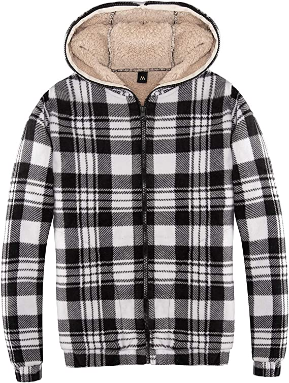 ZENTHACE Womens Sherpa Lined Zip Up Hooded Plaid Shirt Jac Sweater Jacket