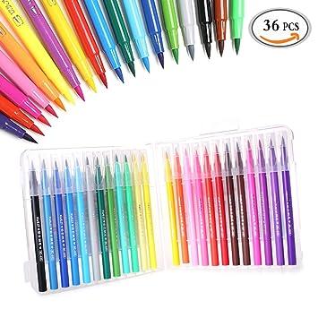 mlmsy Pinsel Stifte Set 36 Farben weicher flexibler Echthaar Pinsel ...