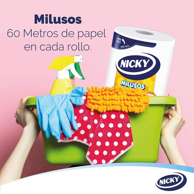 Hojas de 2 capas Papel s/úper absorbente y resistente 535 hojas por rollo Papel 100/% certificado FSC/® Nicky Milusos Papel de Cocina 3 rollos