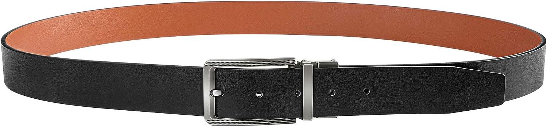 BESTKEE Cintura da uomo in pelle da uomo con fibbia ritorta larghezza 3,5 cm
