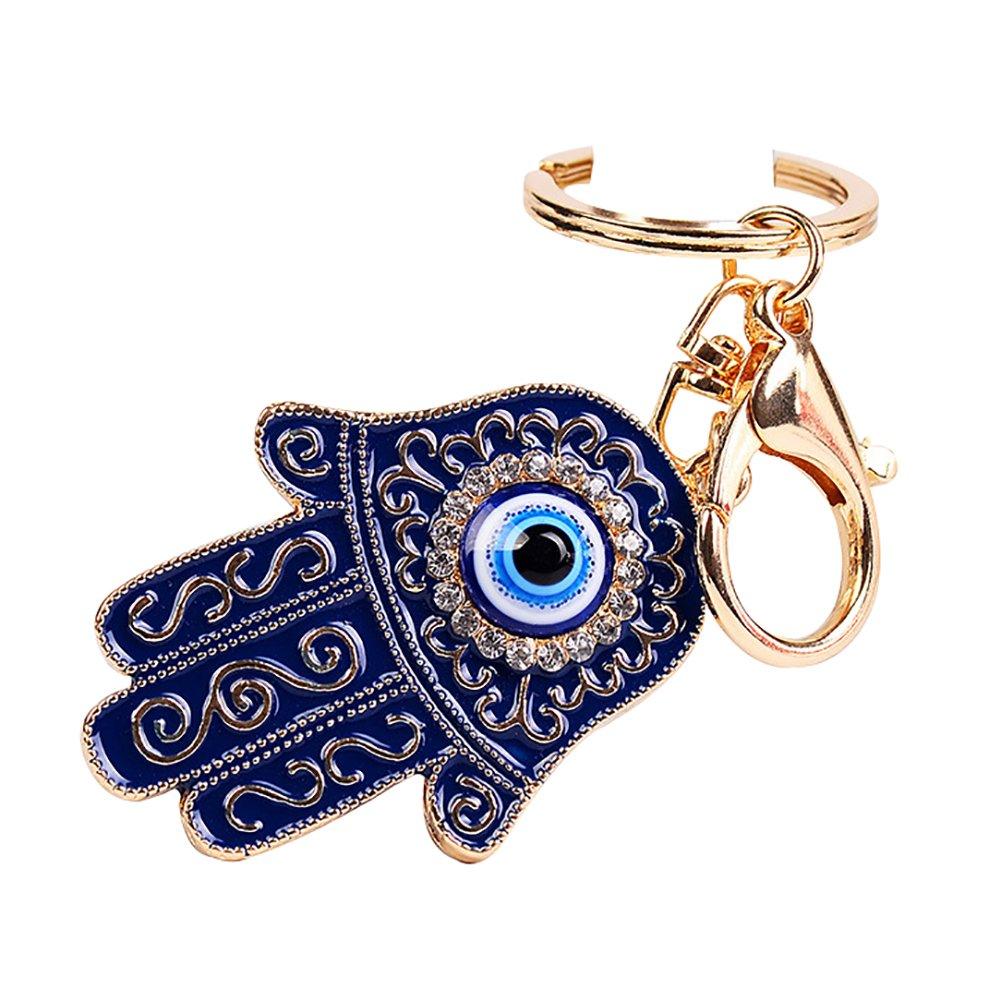 Yeshi Moda mano de Fátima azul mal de ojo llavero llavero ...