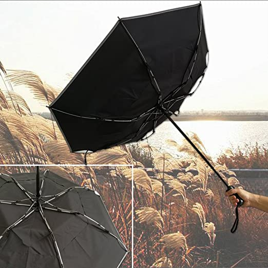 Krago Auto Open 8 Ribs Fiberglass Straight Umbrella with Stylish Silver Handle