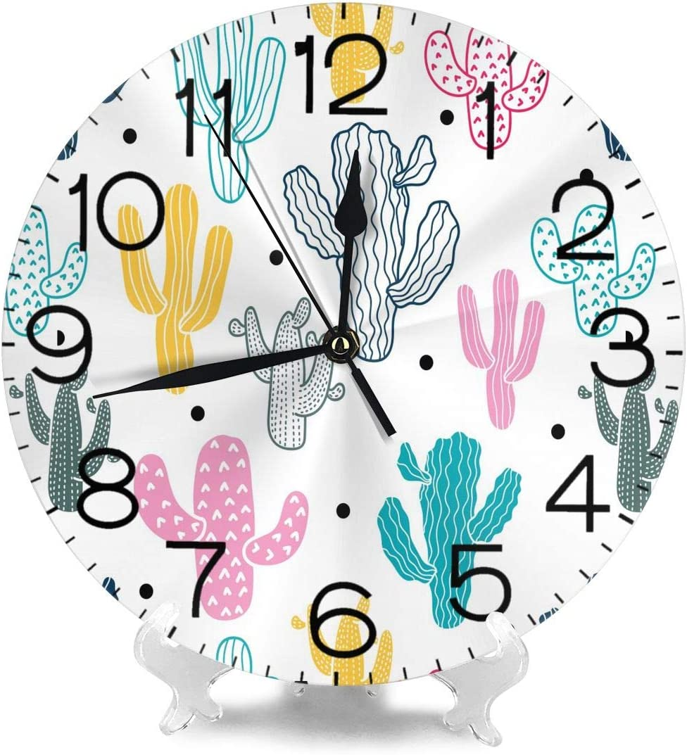Dujiea Cactus Round Wall Clock Silent Non Ticking Battery Operated 9.5 Inch for Student Office School Home Decorative Clock Art
