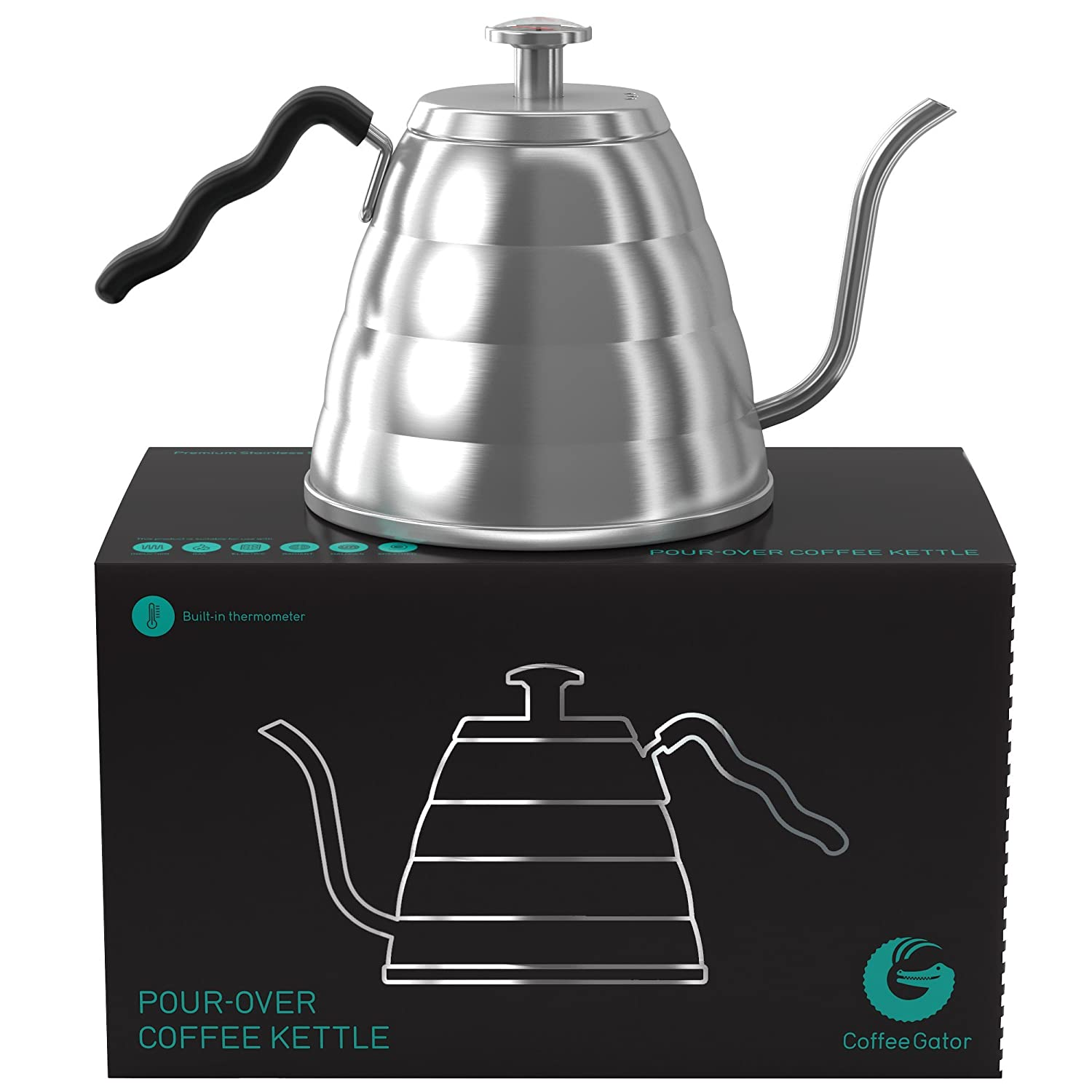 Coffee Gator Pour Over Kettle - Fixed Thermometer for Exact Temperature - 1.2l KTL-LRG-STL