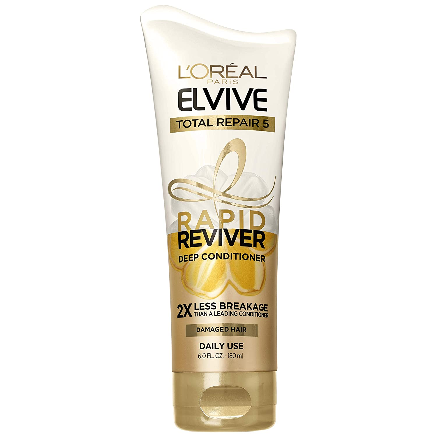 L'Oreal Paris Elvive Total Repair 5 Rapid Reviver Deep Conditioner, Repairs Damaged Hair, No Leave-In Time, Heat Protectant, with Damage Repairing Serum and Protein, 6 oz.