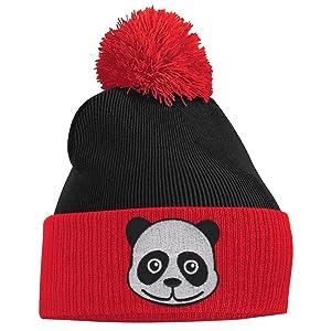 Women's Pom Pom - Panda Face - Red and Black