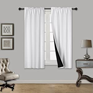 """Elegant Home 2 Panels Tiers Small Window Treatment Curtain Faux Silk Insulated 100% Blackout Drape Short Panel 30""""W X 36""""L Each for Kitchen Bathroom or ANY Small Window # Tom (White)"""