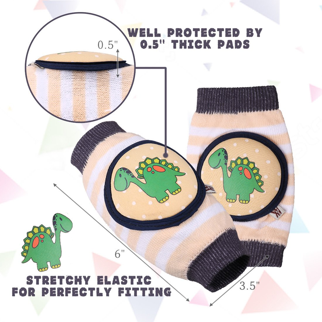 Ava & Kings Baby Knee Pads for Crawling - Babies Stuffs Gift Ideas for Infants - Protect Elbows and Legs w/Breathable Warmer Cotton and Anti-Slip Elastic - Unisex For Boys & Girls - Set of 3 by Ava & Kings (Image #6)