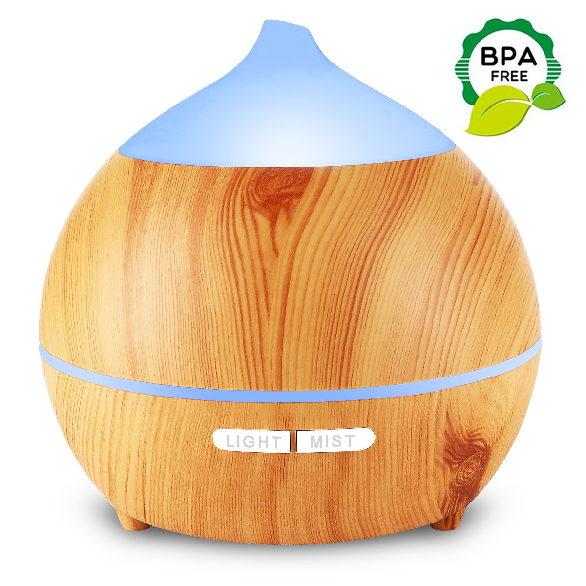 Aromatherapy Essential Oil Diffuser, Mulcolor 250ml Ultrasonic Diffuser for Essential Oils, Cool Mist Aroma Diffuser Humidifier, Waterless Auto Shut-off, 7 Colored LED Lights, Adjustable MIST Mode