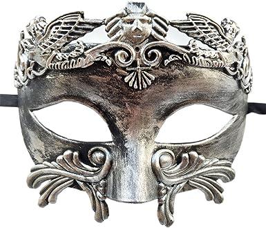 Silver Mens Roman Warrior Two Tone Masquerade Ball Prom Halloween Mask Black