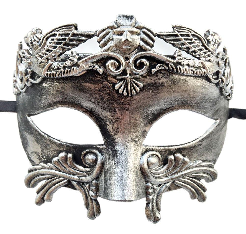 Mens Masquerade Mask Roman Greek Party Mask Mardi Gras Halloween Mask (Antique Silver Black)
