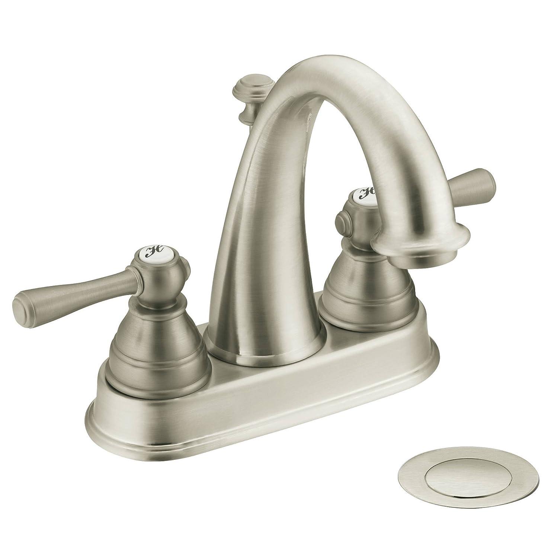 Moen 6121BN Kingsley Two-Handle High Arc Bathroom Faucet, Brushed ...