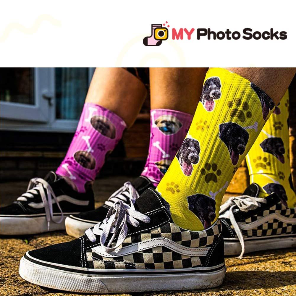 c3960b7073da Amazon.com  MY PHOTO SOCKS Custom Print High Crew Personalized Socks Gift  for Women Men  Clothing