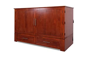 Emurphybed Daily Delight Murphy Cabinet Chest Bed with Charging Station & Gel-Infused Mattress, Queen, Cherry