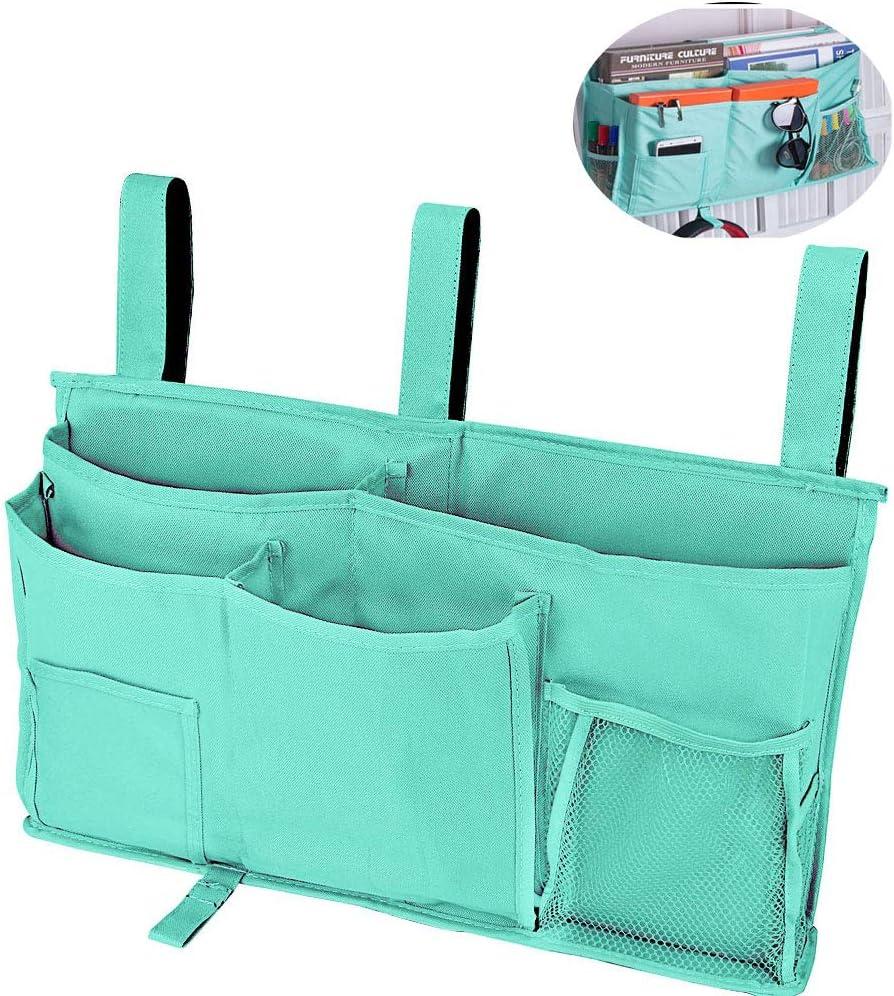 Censsa Bedside Storage Caddy Bunk Bed Accessories Green Bedside Caddy Hanging Organizer for Dorm Bed, Multi Pockets Bed Basket Caddy for Bunk Bed Shelf (Green)