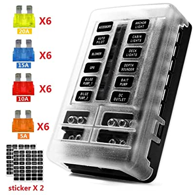 12-Way 12V Blade Fuse Block, 12 Volt Automotive Fuse Box Holder Waterproof with Negative Bus 5A 10A 15A 20A Fuse Panel LED Indicator for Auto, RV, Car, Boat, Marine, Truck: Automotive