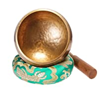 Klangschale 8cm Klangschalen Set klein mit Holz Klöppel und Klangschalenkissen Meditation Klangtherapie Achtsamkeit Aufmerksamkeit - Grün - Keliti