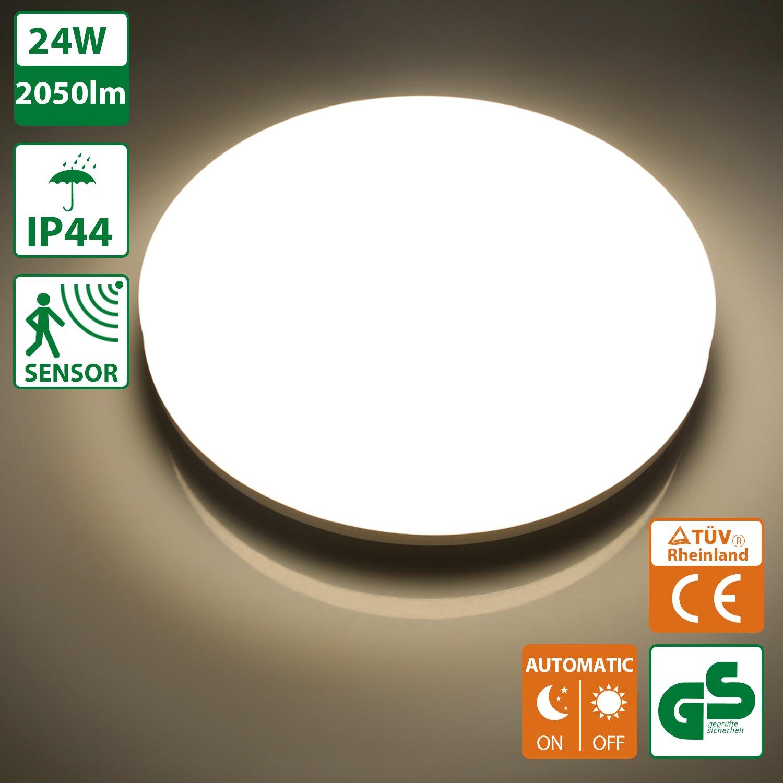 Oeegoo 24W Lamparas de techo LED IP44 Plafon led de techo 2050LM 4000K Sensor de Movimiento Detector de Movimiento Luz Automática crepuscular para entrada ...