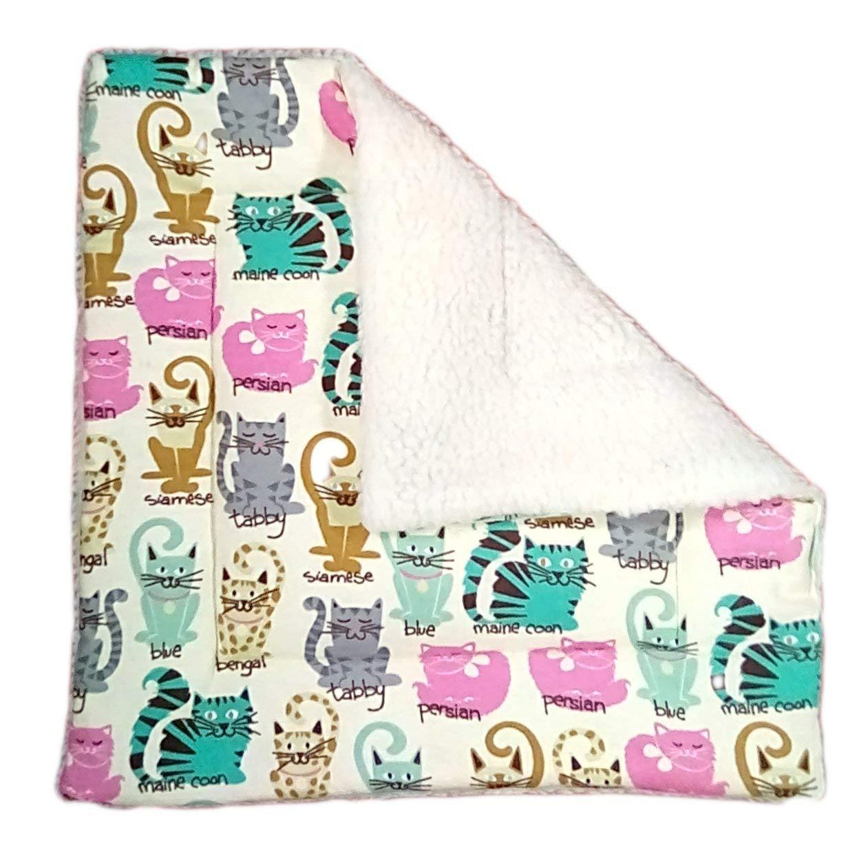 Sherpa Cat Blanket with Catnip - 17 x 17 - Cat Play Mat - Cute Cats
