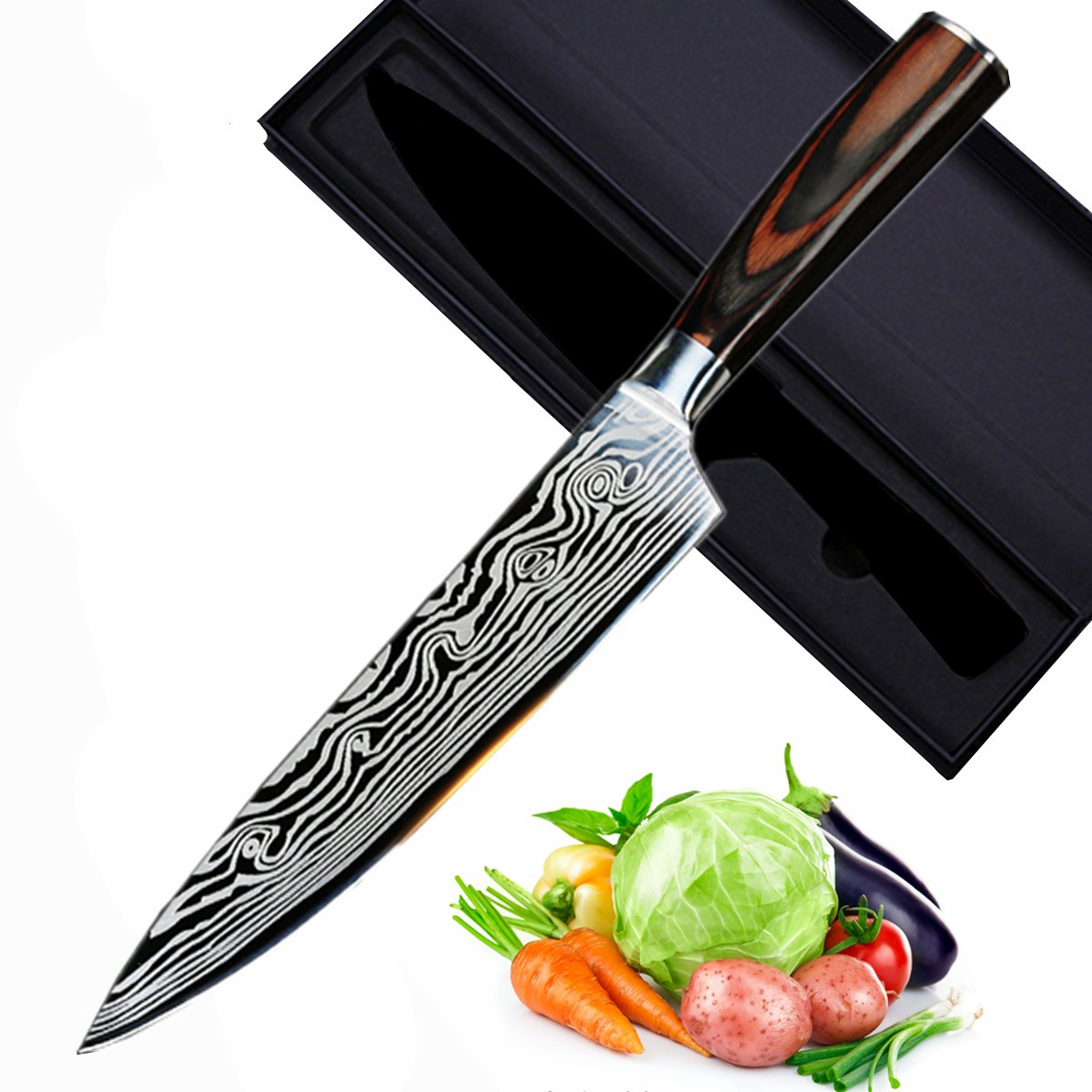 Chef Knife 8.25 inches Stainless Steel Kitchen Knife with Ergonomics Wood Grain Handle, Damascus Pattern Blade and Gift Box