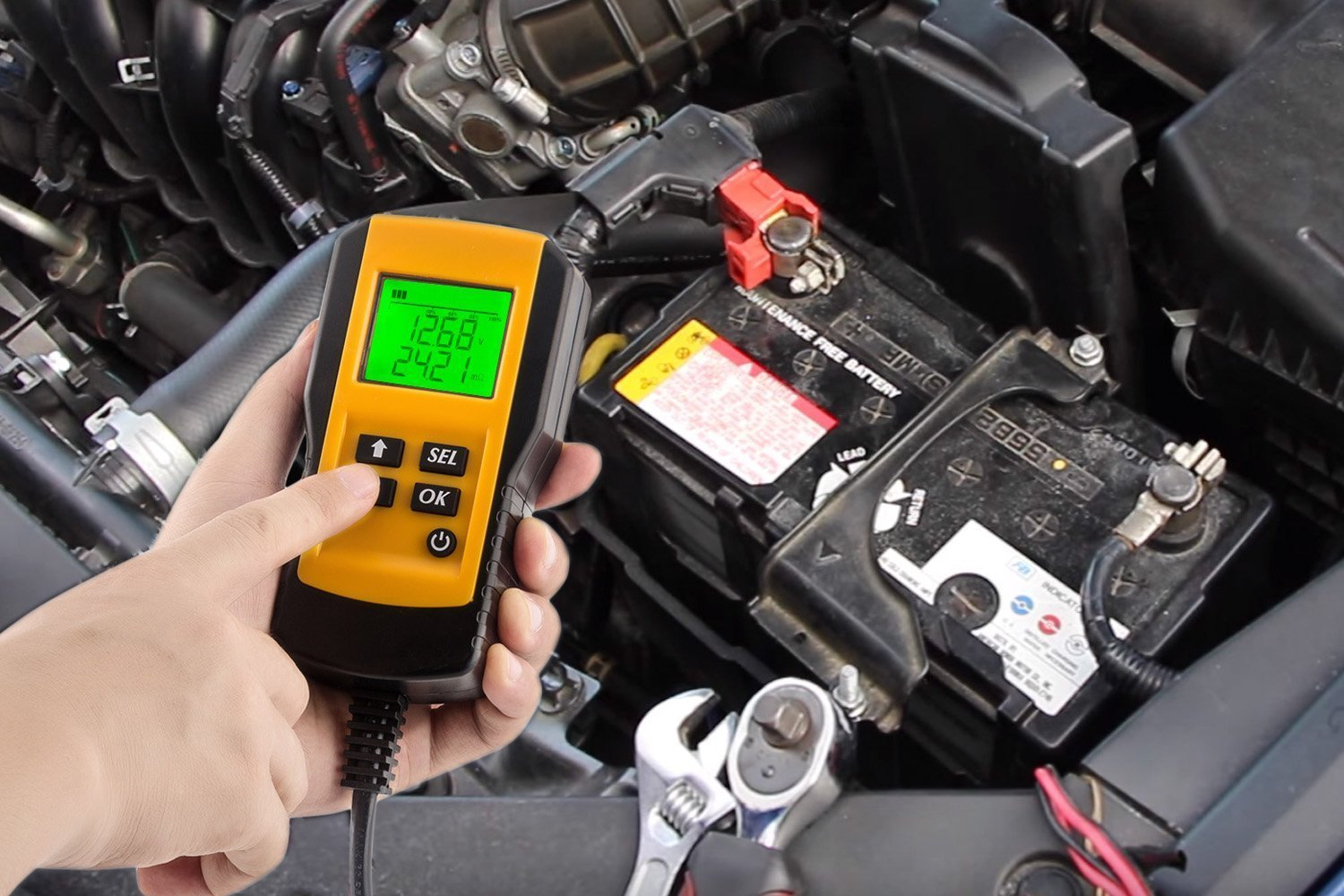 Car Battery Load Tester Digital 12V Car Battery Tester Automotive Battery Load Tester and Analyzer Of Battery Life Percentage,Voltage, Resistance and CCA Value For Gel, AGM, Flood, Deep Cycle Check by Enbar (Image #4)