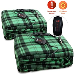 Zone Tech 2-Pack Car Heated Travel Blanket – Green Plaid Premium Quality 12V Automotive Comfortable Heating Car Seat Blanket Great for Summer