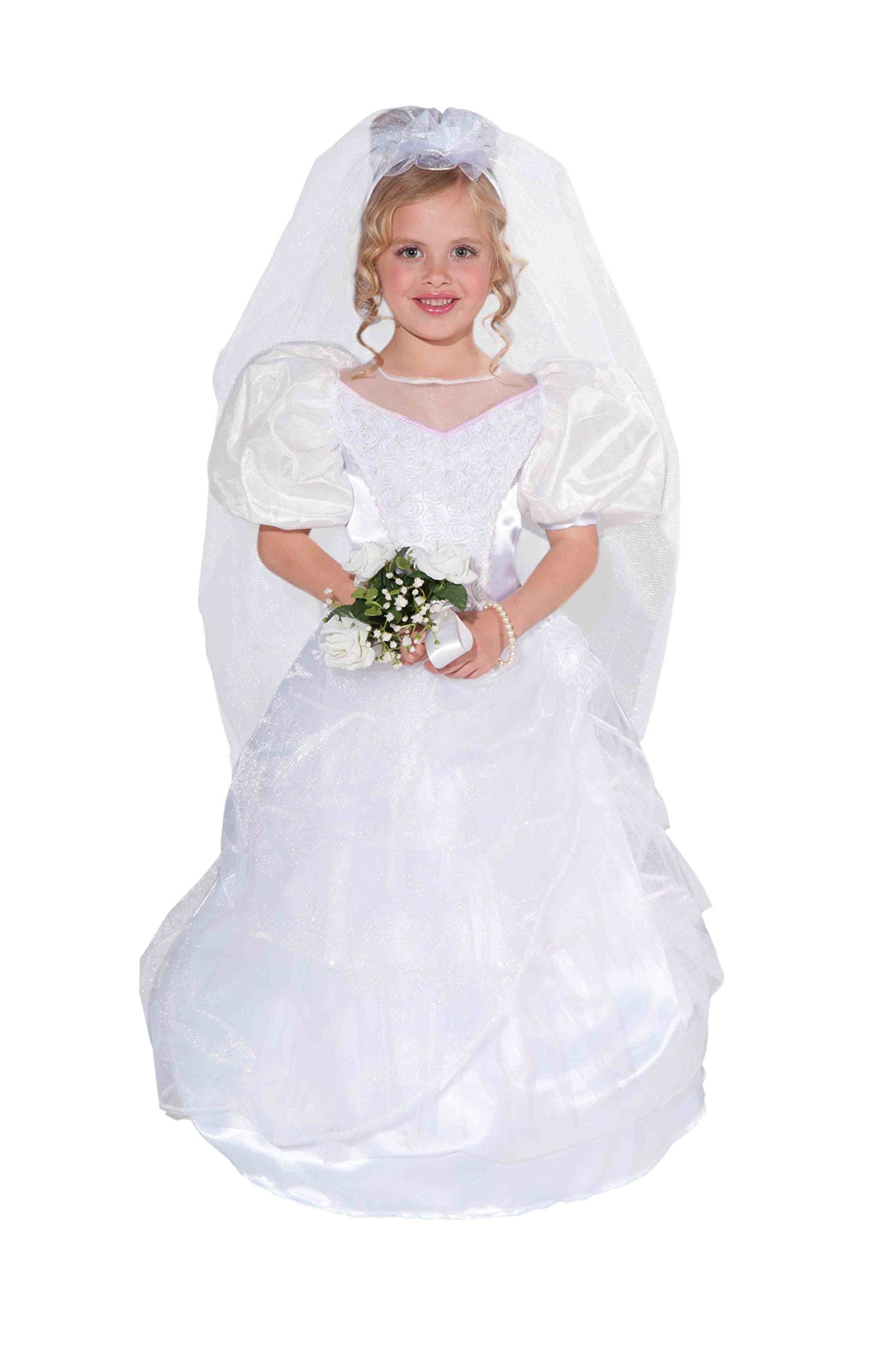 Forum Novelties Designer Collection Deluxe Costume Wedding Dress and Veil, Child Small