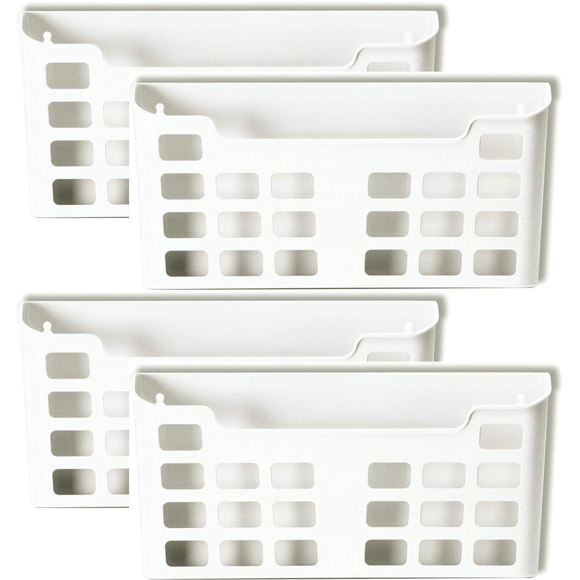 Officemate MagnetPlus Magnetic Letter Size File Pocket, White 4-Count