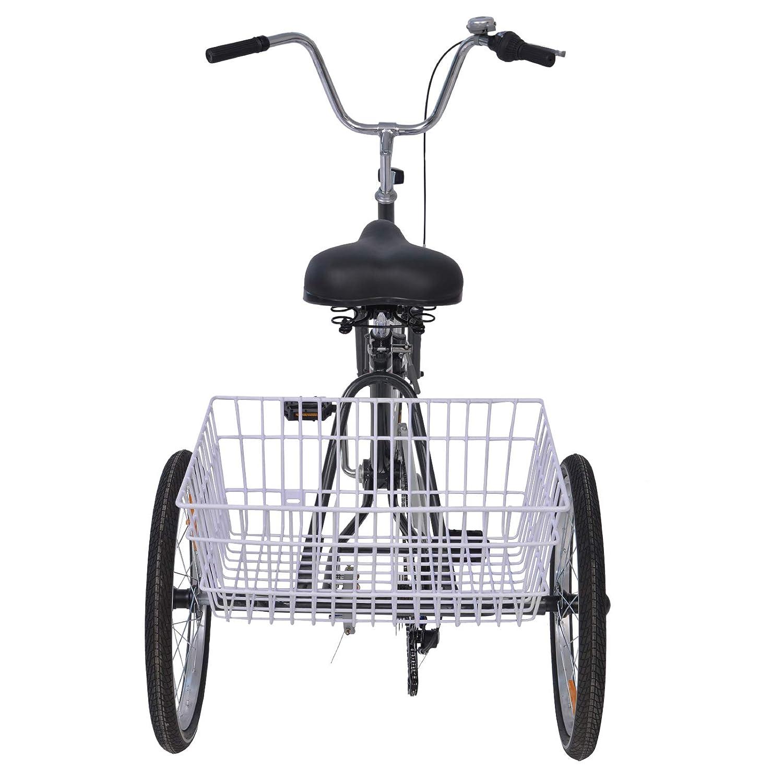 H/&ZT Adult Folding Tricycle Bike 20 Inch 3 Wheeled Folding Bicycle Trike for Unisex